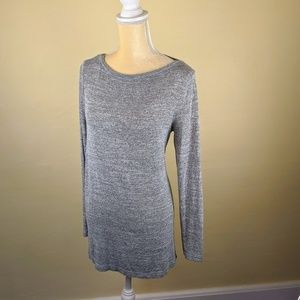 Banana Republic Long Sleeve Boat Neck Grey Top
